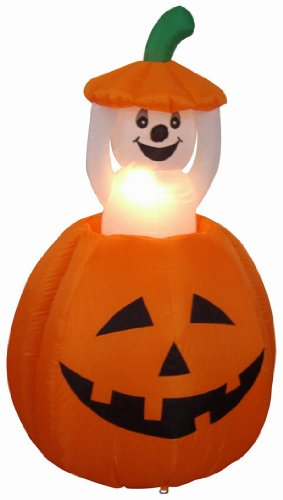 4' Airblown Inflatable Animated Pumpkin with Ghost Lighted Halloween Yard Art