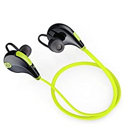 Geega QY7 V4.1 Bluetooth Mini Lightweight Sports Earbuds, Wireless Stereo Headphones, Bluetooth 4.1 Neckband Earphone, Running Gym Exercise High-fidelity Sound Headset with Aptx Mic (Green)