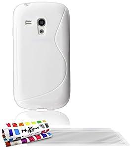 """MUZZANO Coque Souple Ultra-Slim """"Le S"""" Premium Blanc pour SAMSUNG GALAXY S3 MINI ( I8190 ) de Qualité Supérieure ORIGINALE - Protection Antichoc ELEGANTE, OPTIMALE et DURABLE + 3 Protections d'Ecran transparents """"UltraClear"""" + 1 STYLET et 1 CHIFFON MUZZANO OFFERTS"""