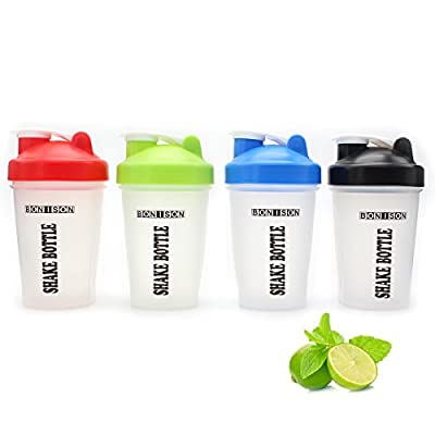 Mix Whip Blend & Shake Clear Classic Colored Screw Top Shaker Bottle Wire Whisk Sport Mixer Smoothie Protein Weight Loss Shakes & Powders Water Bottle