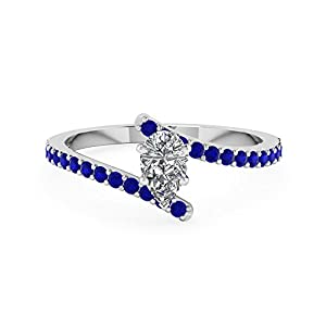 0.65 Ct Pear Diamond & Sapphire Gemstone Engagement Ring Pave Set 14K GIA Certified (D Color,VS2 Clarity)