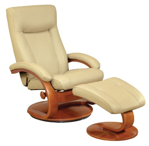 Leather Recliner and Ottoman Set by Mac Motion Chairs - Walnut (54/LO3-32/103)