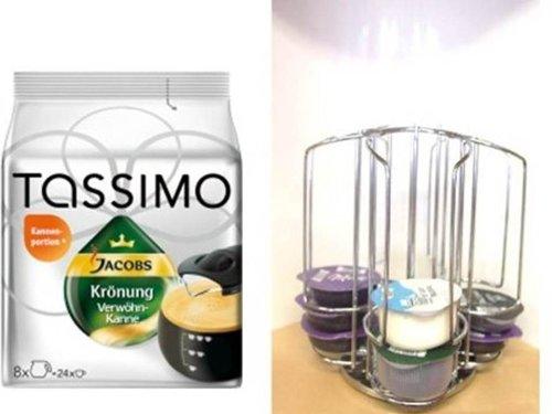 Tassimo Jacobs Krönung Verwöhnkanne + der passende Mini Tower Kapselhalter,Kapselständer mit Spezial Schacht für die grossen Milchkapseln von James Premium®
