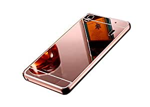 Novo Style Metal Bmper Frame Case with Acrylic Mirror Back Cover For lenovo A7000 - Pink