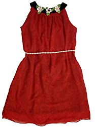 Empatera Self Design Red Fit and Flare Dress