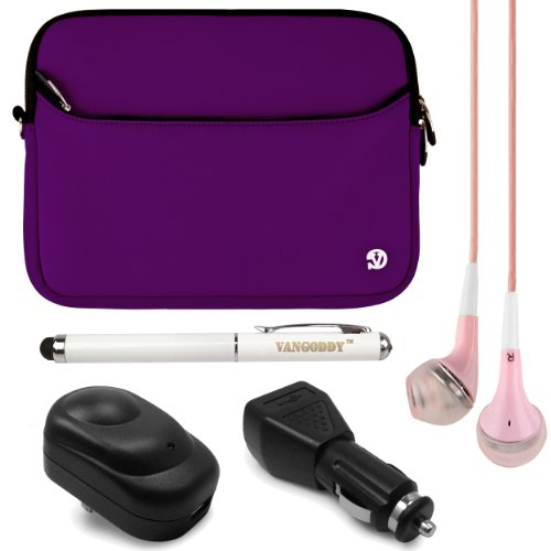 Neoprene Sleeve Cover W/ Handstrap For Lg G Pad 8.0 / Lg G Pad 8.3 8-Inch Tablets + Usb Wall & Car Charger + Laser Stylus Pen + Pink Headphones (Purple)