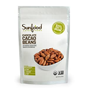 SunFood Organic Raw Whole Cacao Beans -- 8 oz