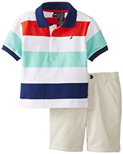 Nautica Baby-Boys Infant 2 Piece Stripe Polo with Solid Short Set by Nautica