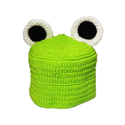 Crochet Knitted Frog Hat Cap Photo Prop Green Unisex