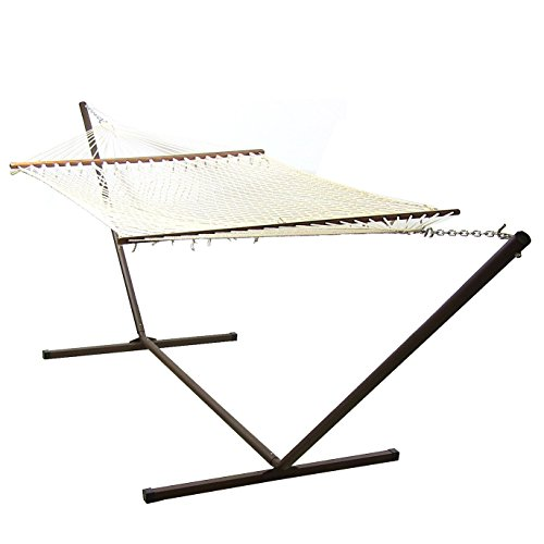 Sunnydaze Cotton Double Wide Rope Hammock with Wood Spreader Bars and Stand Combo, 130 Inch Long x 60 Inch Wide