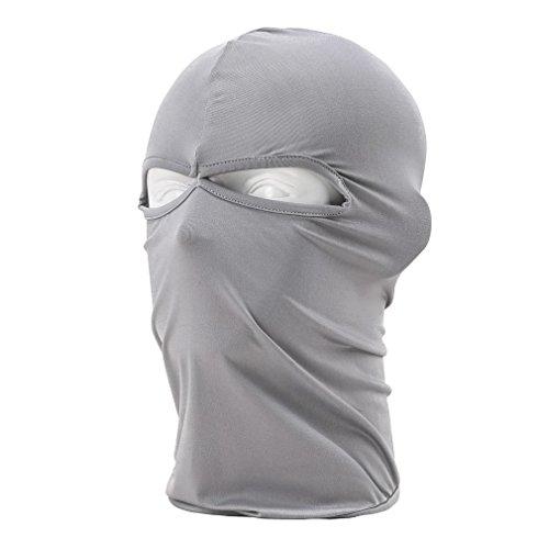 Rioriva Full Face Neck Tactical Swat Police Mask Motorcycle Snowboard Ski Balaclava (Twohole-grey)
