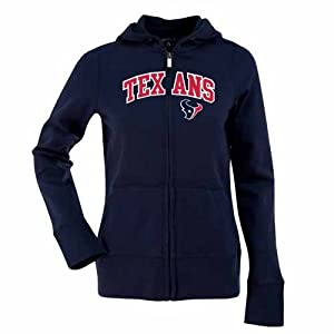 Houston Texans Applique Ladies Zip Front Hoody Sweatshirt (Team Color) by Antigua
