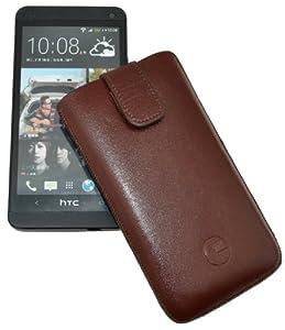 Original Favory ® Etui Tasche für / HTC One M7 / Leder Handytasche Ledertasche Schutzhülle Case Hülle *Lasche mit Rückzugfunktion* In braun