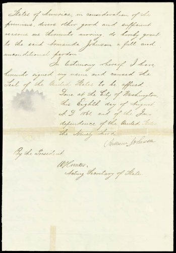 President Andrew Johnson - Pardon Signed 08/08/1868 Co-Signed By: William Hunter front-1059676
