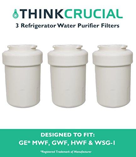 3 Water Purifier Filters Fit GE Smart Water Refrigerator MWF, GWF, GWFA, GWF01, GWF06, MWFA HWF, 46-9991, WSG-1, WF287 & EFF-6013A, Designed & Engineered by Think Crucial