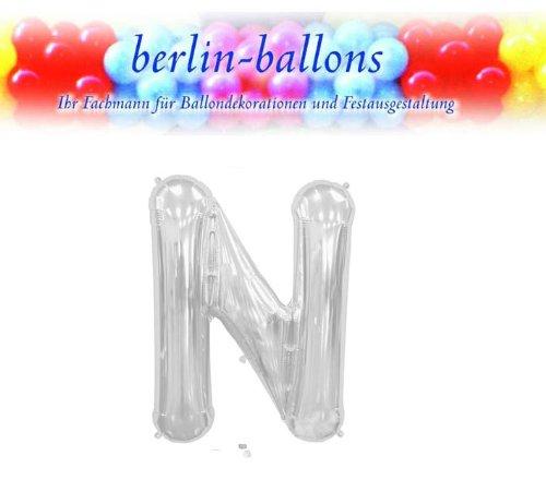 1 X Silver Letter N 34 Inch Foil Balloon