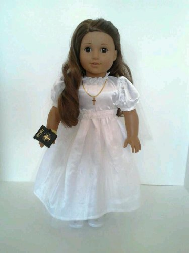 Communion Dress With Cross, Bible And Veil For American Girl Dolls