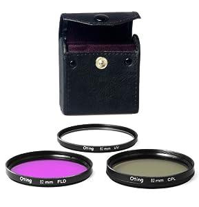 Set de 3 filtres 82mm Haute définition (filtre UV, filtre Fluorescent, filtre Polarisant) pour CANON EOS 1100D 1000D 650D 600D 550D 500D 450D 400D 350D 300D 1D 5D 6D 7D 30D 60D