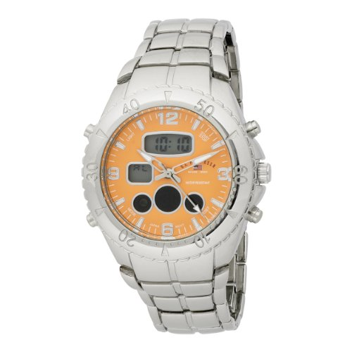 US Polo Assn. Men's US8446 Analog-Digital Orange Dial Silver-Tone Bracelet Watch