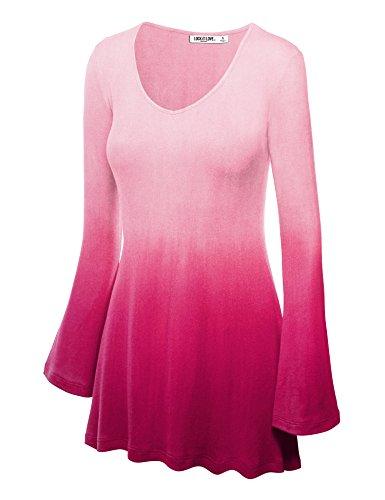 LL WT1081 Womens Dip Dye V Neck Long Bell Sleeves Tunic Top Blouse XXL FUCHSIA
