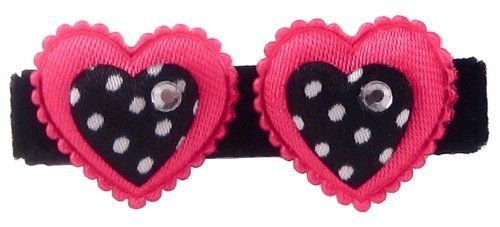 Bow Allure South Beach No Slip Heart Hair Clip For Baby, Toddlers And Girls, Hot Pink