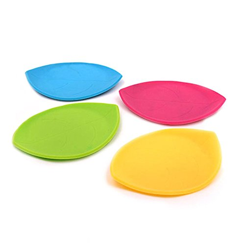 GFDesign Silicone Coaster Kitchen Table Mats Drink Placemat Cup Insulation Pads Heat-Resistant Pads Non-slip Mats Flexible Durable - Leaf Random Color (4 Pcs)