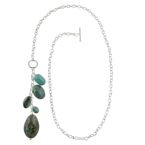Stainless Steel Multi-Blue Genuine Stone Drop