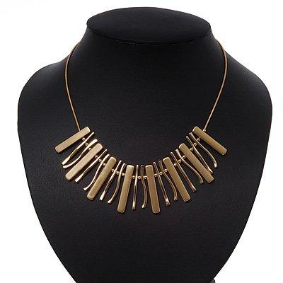Brushed/Polished Gold Bar Necklace - 38cm Length/ 8cm Extension