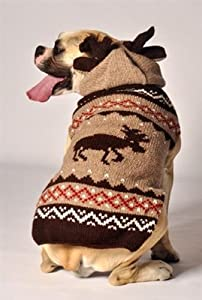 Handmade Moose Holiday Christmas Dog Sweaters for Dogs Large from BadAssPetz