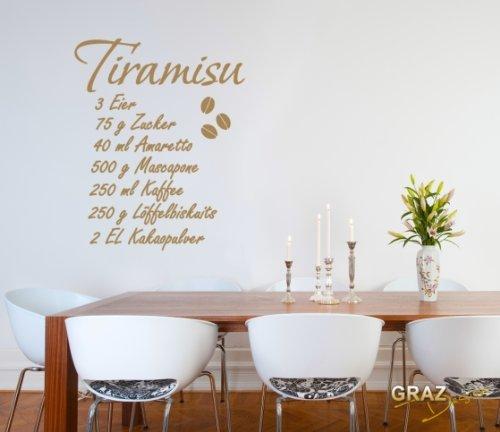 Sticker mural Tatouage mural autocollant mural cuisine recette Tiramisu (Hauteur=50x40cm//Couleur=010 Blanc)