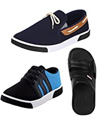 Earton COMBO Pack Of 3 Pair Of Loafers & Mocassins With Casual Shoes & Sandals