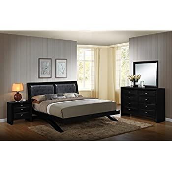 Roundhill Furniture Blemerey 110 Wood Arch-Leg Bed Group with Queen Bed, Dresser, Mirror and Night Stand, Black
