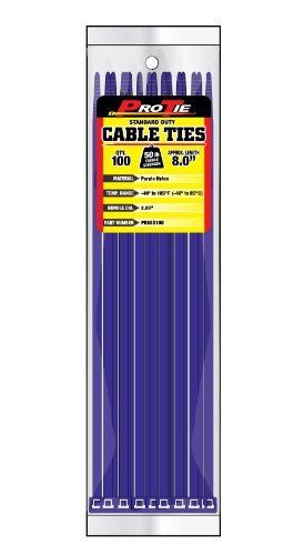Pro Tie PR8SD100 8-Inch Purple Standard Duty Color Cable Tie, Purple Nylon, 100-Pack (Purple Cable Ties compare prices)