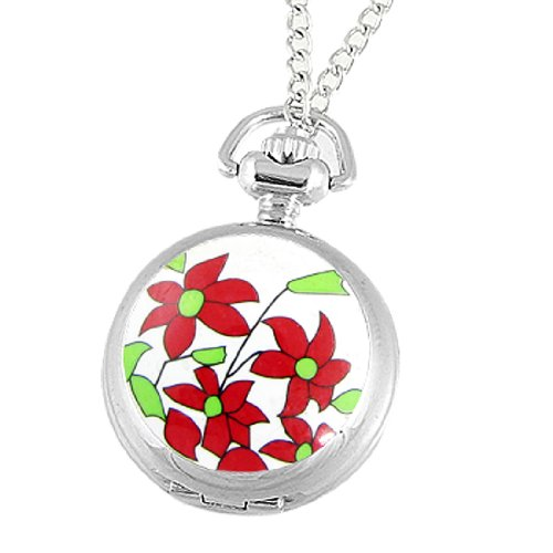 Rosallini Red Flowers Print Cover Quartz Necklace Watch for Women