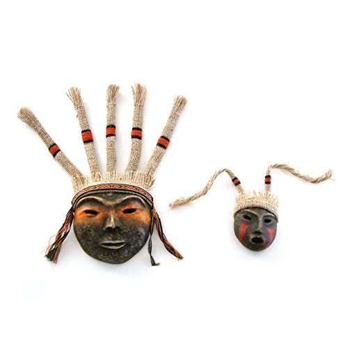 NOVICA Decorative Archaeological Papier Mache Mask, Black 'Inca Offering'