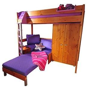 Casa Single L-Shaped Bunk Bed Panel Finish: Lilac, Frame Finish: White, Cushion Colour: Blue Denim