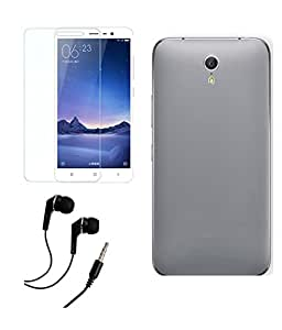 DEPARQ Soft Back Cover For Meizu m3 note With Tempered Glass Screen Protector & 3.5mm Earphone