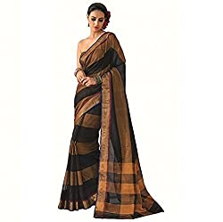 Lemoda Designer Dark Blue & Golden Zari Border Cotton Blend Saree MMUKE38654230570-70000023