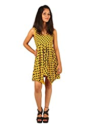 INDRICKA Yellow colour 100% Organic Cotton Dress for womens.