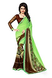 Drapme Floral Print Green Georgette Saree with Designer Printed Blouse