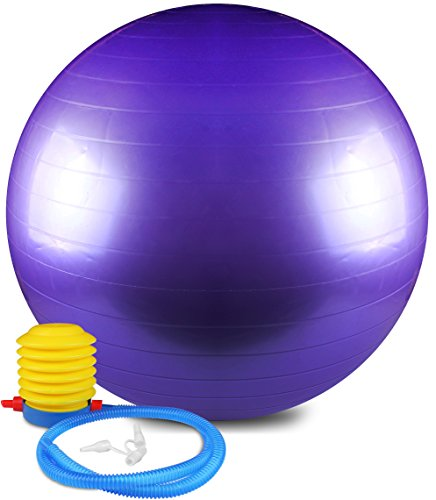 Anti Burst and Slip Resistant Yoga Ball - Exercise Ball, Fitness Ball, Total Body Balance Ball By Utopia Home (55 CM)
