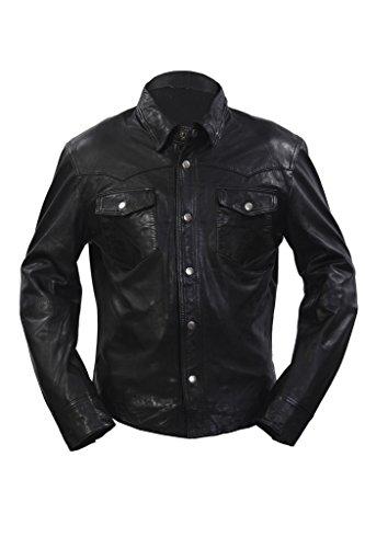 Uomini denim stile casual in pelle nera camicia jeans Giacca M