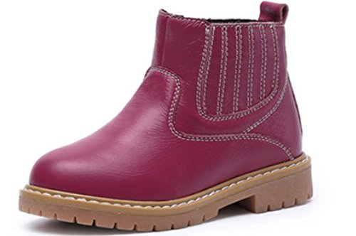 VECJUNIA Girls Casual Round Toe Waterproof Stitching Leather Zipper Short Boots Martens Rose Red 1 M US Little Kid Kids Casual Shorts