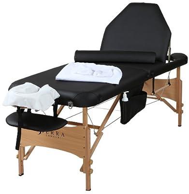 Sierra Comfort Adjustable Back Rest All-Inclusive Portable Massage Tables, Black