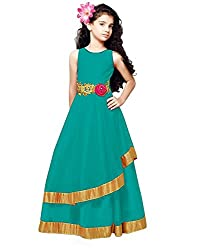 Surat Tex Turquoise Color Georgette Embroidered Stitched Designer Kids Gown-H917GN50002PR