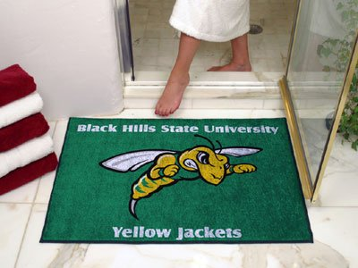 NCAA Black Hills State Yellow Jackets Chromo Jet Printed Area Rug Floor Mat 45