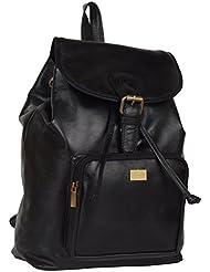 CUZDAN Leather 20 Liters Black School Backpacks