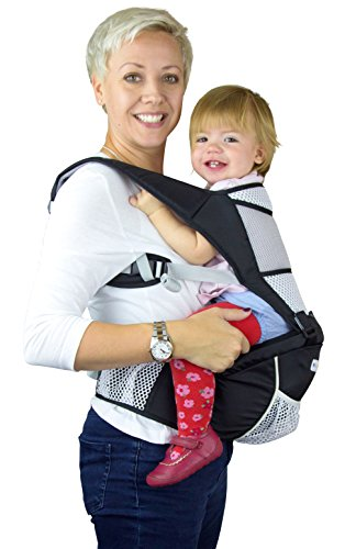 NimNik Baby Carrier Marsupio Porta bebè Nero Ergonomico Lightweight Hipseat with Lumbar Support, 4 in One Back 2 Front Facing Comfort Positions