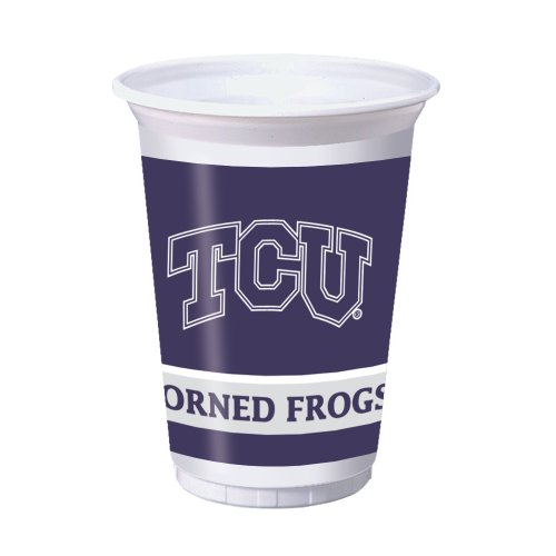 Creative Converting 8 Count Texas Christian Horned Frogs Printed Plastic Cups, 20-Ounce