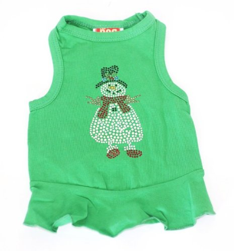 The Dog Squad Snowman Dress Christmas T-Shirt For Pets, Small, Green